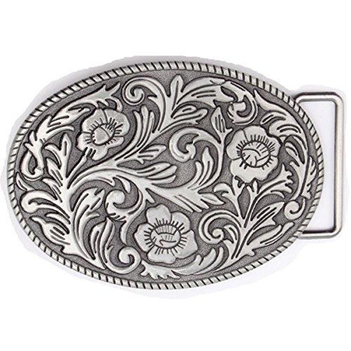 Vintage Karaqusa Flower Tattoo Belt Buckle Western Cowboy Native American (TT-02-S)