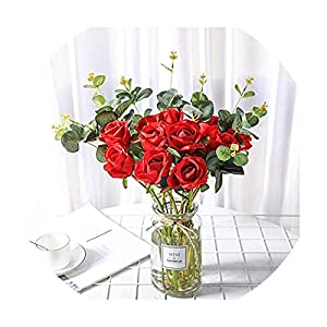 11 Pieces/Lots Wedding Branch Fresh Artificial Flowers Lifelike Roses Flowers for Decorating Home Party Wedding Gift 11