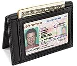 Slim Leather Bifold Front Pocket Wallet Credit Card Holder with 2 ID Window RFID Blocking - Black