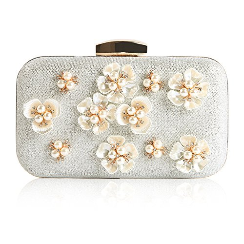 Handbag Floral Evening Cross Party Clutch Silver Body Women's Wedding Design Wedding Beaded Bags Clubs for Bags t40dxnqUw