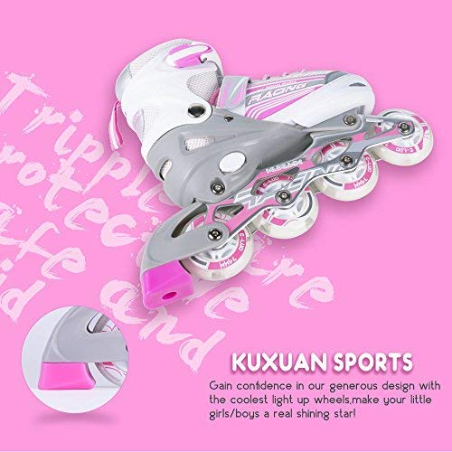 Kuxuan Saya Inline Skates Adjustable for Kids,Girls Rollerblades with All Wheels Light up,Fun Illuminating for Girls and Ladies - Small by Kuxuan (Image #3)