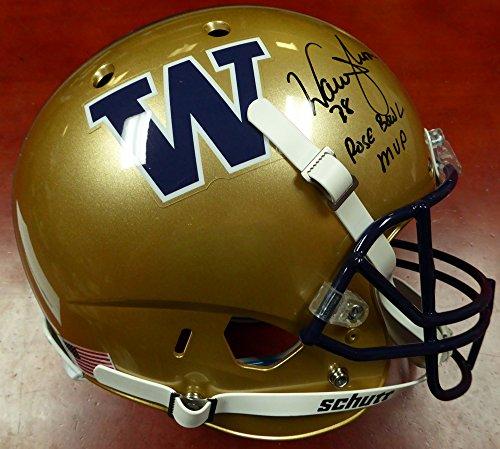 Warren Moon Autographed Washington Huskies Full Size Replica Gold Helmet