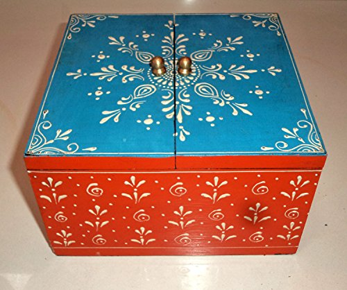Incredible Indian Handicrafts Wooden Hand Painted Embossed Jewelry Chest Box Elephant Shape Home Decor