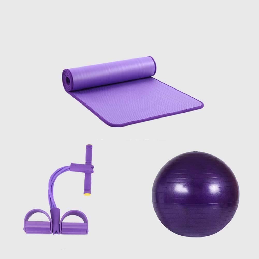 Qys Yogamatte Yoga-Ball Und 4-Litziger Abzieher Dreiteiliger Anzug Für Übung Fitness Turnhalle Bodhi