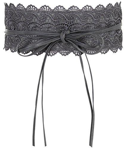 15295-CHA-OS:: KRISP Crochet Waist Belt, Charcoal,One Size (Patent Leather Wide Cinch)