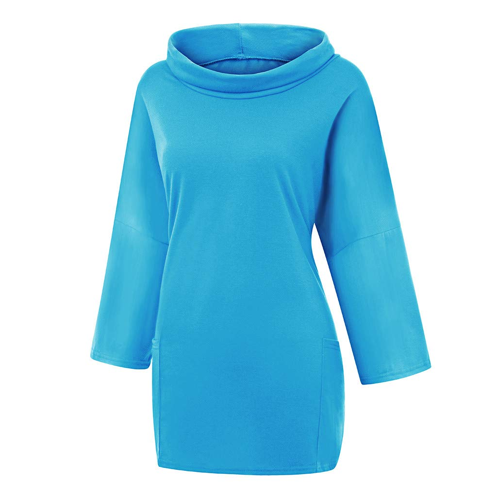 Baiggooswt Womens Scarf Neck Plus Size Pure Color Long Sleeves Loose Pockets Casual Top Pullover Blouse