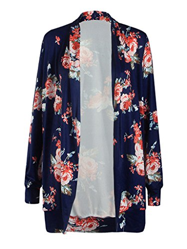PERSUN Womens Floral Printed Kimono Cardigan Coat Jacket Cover Up Blouse Top,Blue,3XLarge