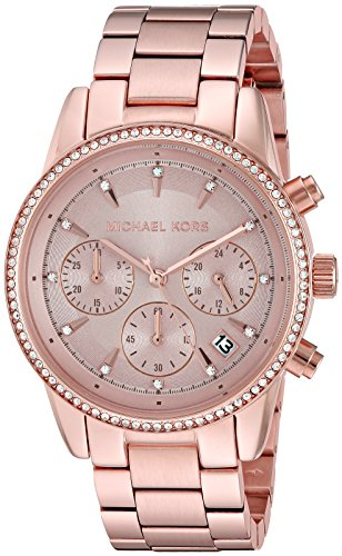 michael kors women s ritz rose gold tone watch mk6357. Black Bedroom Furniture Sets. Home Design Ideas