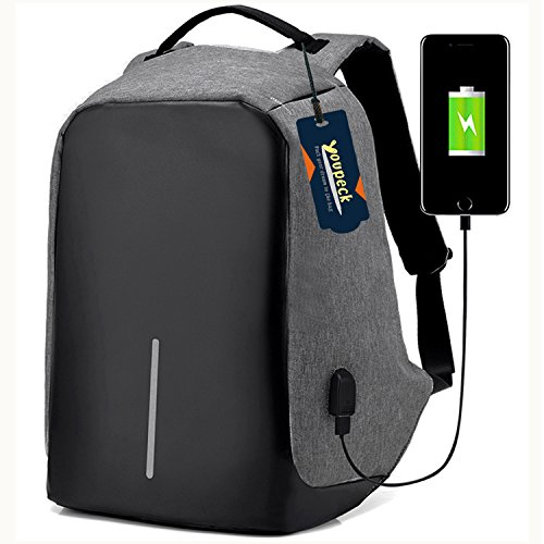 Laptop Backpack, Youpeck Business Laptop Bag with USB Charge Port Anti-Theft Water Resistant Casual School Bookbag for College Travel Backpack for Macbook Pro 15/ 15.6-Inch Laptop Ultrabook -Dark Grey