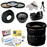 Sigma 10-20mm f/4-5.6 EX DC HSM Autofocus Lens For The Nikon D1 D1X D1H D2X D2Xs D2H D2Hs D3 D3X D3s D100 D200 D300 D300S D700 D7000 D7100 D3000 D3100 D3200 D5000 D5100 D5200 D5300 D40 D40X D50 D60 D70 D90 D80 DSLR Cameras Includes 3 Year Extended Lens Warranty + 0.43x High Definition II Wide Angle Panoramic Macro Fisheye Lens + 2.2x Extreme High Definition AF Telephoto Lens + Professional 3 Piece Pro Filter Kit (UV, CPL, FLD) + Flower Lens Hood + Deluxe Lens Cleaning Kit + LCD Screen Protectors