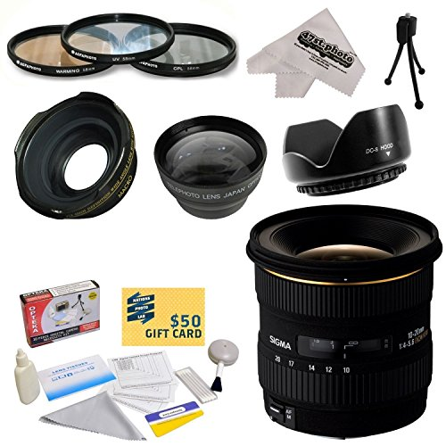 Sigma 10-20mm f/4-5.6 EX DC HSM Autofocus Lens For The Nikon D1 D1X D1H D2X D2Xs D2H D2Hs D3 D3X D3s D100 D200 D300 D300S D700 D7000 D7100 D3000 D3100 D3200 D5000 D5100 D5200 D5300 D40 D40X D50 D60 D70 D90 D80 DSLR Cameras Includes 3 Year Extended Lens Wa by Sigma