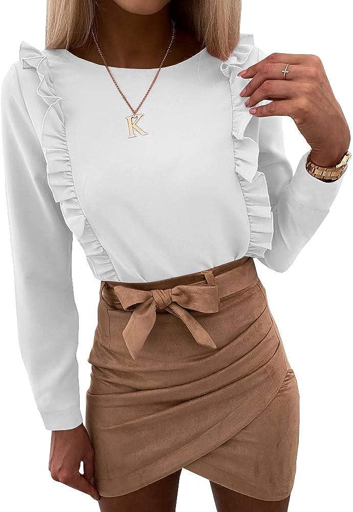 Wenrine Women's Long Sleeve Rib Ruffles Boat Neck Wear to Work Office Casual Blouse Shirt Tops
