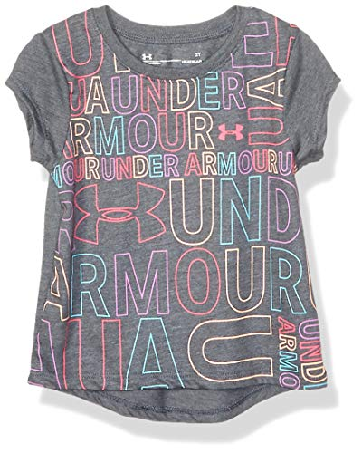 Under Armour Girls' Toddler Basic Short Sleeve Graphic Tee Shirt, Pitch Gray-S19, 4T (Under Armour For Kids)