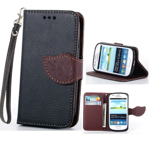 S3 Mini,S3 Mini Black Case,Canica Leather Case Cover For Galaxy S3 Mini,S3 Mini Leather Case,Unique Design Flip Wallet Style Leather Case Cover For Samsung Galaxy S3 Mini I8190 (Leather Samsung S3 Mini compare prices)