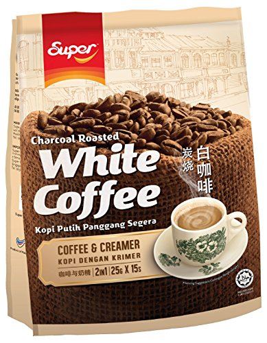 - Super 2-In-1, Charcoal Roasted, White Coffee, 15-count sachet/packets