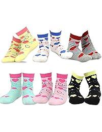 TeeHee Kids Girls Cotton Fashion Crew Socks 6 Pair Pack