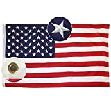 WOWMAR American Flag 6×10 FT 100% Made in USA Nylon -Embroidered Stars Sewn Stripes-4 Rows of Lock Stitching USA Banner Flags with Brass Grommets 210D Quality Oxford Nylon