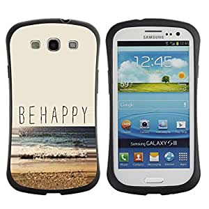 LASTONE PHONE CASE / Suave Silicona Caso Carcasa de Caucho Funda para Samsung Galaxy S3 I9300 / Be Happy Beach Summer Sun Nature Surf