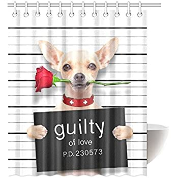 InterestPrint Funny Animal Home Bath Decor Valentines Chihuahua Dog With Rose Polyester Fabric Shower Curtain
