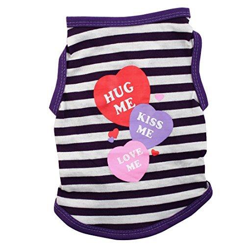eDealMax 3 Coeurs Clin Baiser Love Me Motif de Chien chiot vtements d't T-Shirt Taille Costume Veste XS Violet Blanc Stripe