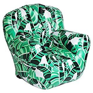 Sunnylife Adult Deluxe Outdoor Inflatable Pool Beach Lounge Chair - Banana Palm Green