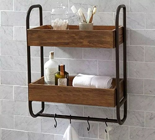 WGX Industrial Pipe Shelf Shelving Pine Wood And Towel Bar Rack   Multiple  Shelves