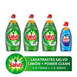 Título- Salvo Lavatrastes Líquido Limón y Botella Power Clean, 2.55 L ( Tres Botellas de 750ml + Una Botella de 300 ml)
