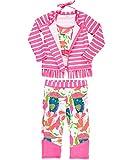 RuffleButts Little Girls Floral & Stripe 3-Piece Swim Set - Bikini Top, Long Sleeve Rash Guard Top & Swim Leggings - 4T/5