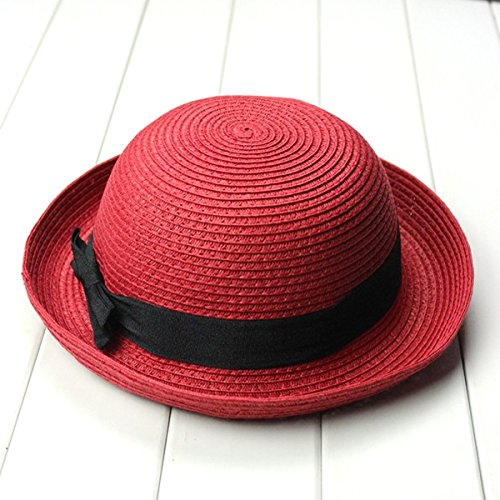 OULII Fashion Women's Girls Bowknot Roll-up Wide Brim Dome Straw Summer Sun Hat Bowler Beach Cap (Red)