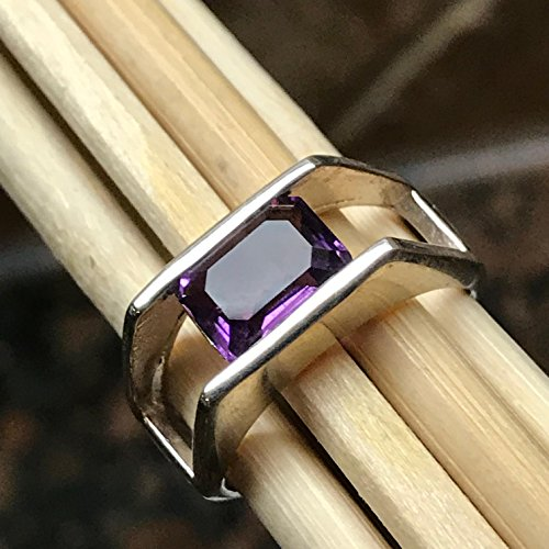 - Genuine 2ct Emerald Cut Amethyst 925 Solid Sterling Silver Solitaire Ring sz 6.5
