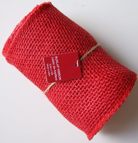 5.5 Inches Wide 15 Feet Long Woven Fabric Burlap Craft Ribbon Roll - (Red Burlap)