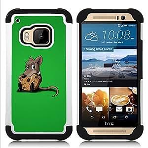 """Pulsar ( Rata Roedor gris de la historieta Animación Cute Food"""" ) HTC One M9 /M9s / One Hima híbrida Heavy Duty Impact pesado deber de protección a los choques caso Carcasa de parachoques"""