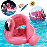 Esvor Baby Pool Float with Canopy, Flamingo Pool Float and Baby Floats for Kids Pool with Adjustable Canopy, Baby Swim Float for Infants Toddlers Kids Aged 6-48 Months, Inflatable Baby Swimming Ring