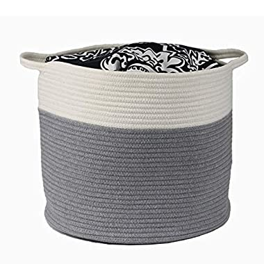 KP Organizer Gray Cotton Rope Basket Laundry Hamper Extra Large Baby Nursery Toy Organizer for Laundry Blankets Towels Pillows,15.7  x 13.7