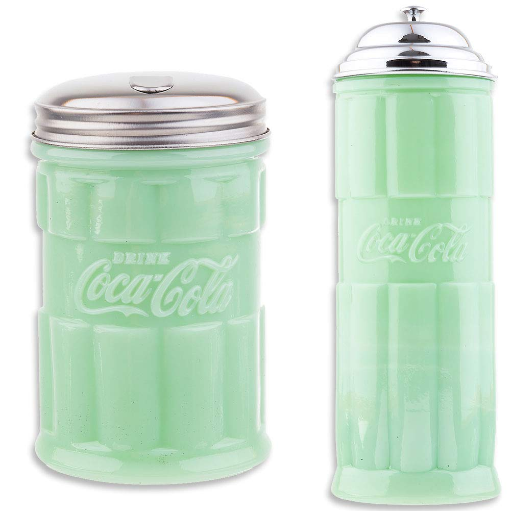(Set) Coca-Cola Jadeite Straw Holder & Sugar Pourer w/Stainless Steel Caps by SINCE 1914 JOHNSON SMITH CO