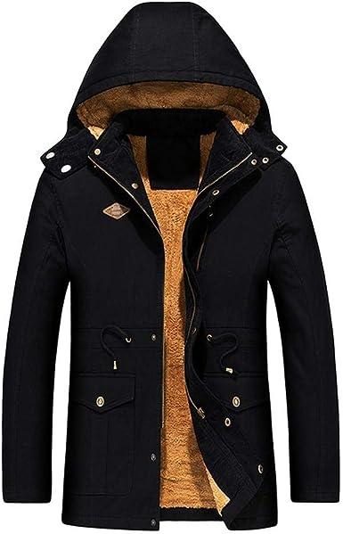 Chaqueta Hombre Invierno Cazadoras Hombre Parka con Capucha Jacket Abrigo de Algodón Cazadora Chaqueta de Abrigo Casual Chaqueta Térmica de Cuero Abrigos - Logobeing Chaquetas K550 (XL, Negro): Amazon.es: Ropa y accesorios