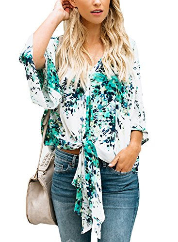 ELF QUEEN Kimono Sleeve Shirts for Women Flowerlet Print Summer Spring Blouses White_Green X-Large