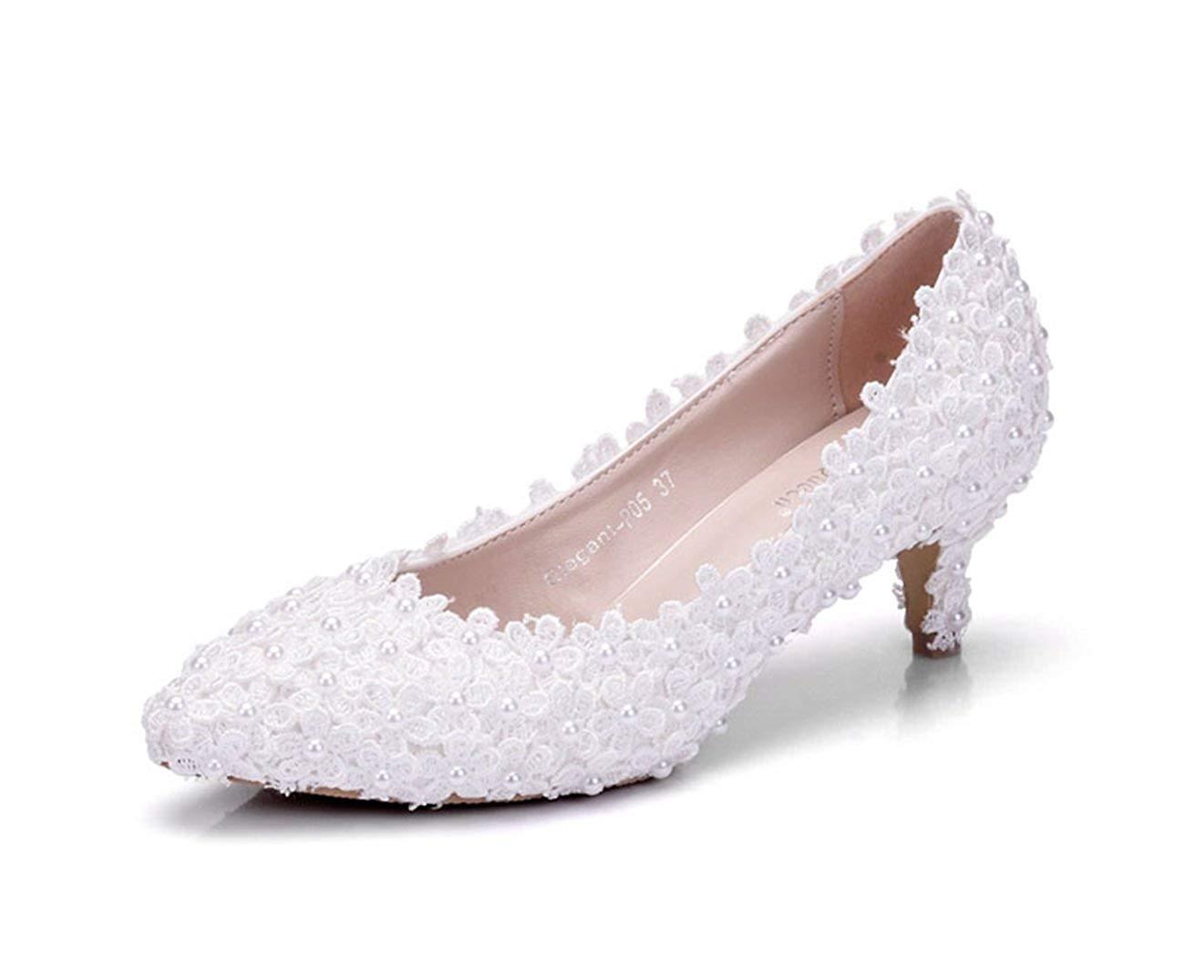 HhGold Damen Spitze Blaumen 2 Heel Slip-on Weiß Braut Hochzeit Hochzeit Hochzeit Formale Partei Abend Pumps Schuhe UK 4 (Farbe   -, Größe   -) f1358e