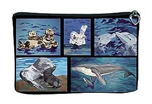 Cosmetic Bag, Zipper Pouch - Zip-top Closer - Taken From My Original Paintings - Animals (Aquatic Patchwork)