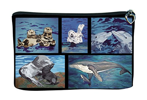 Cosmetic Bag, Zipper Pouch - Zip-top Closer - Taken From My Original Paintings - Animals (Aquatic Patchwork)