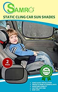 """Car Sun Shade (2 Pack) Size 19""""x12"""" - Premium Baby Car Window Shades are Best for Blocking Nearly 99% of Harmful UV Rays While Protecting Your Child from Sunlight and Glare"""
