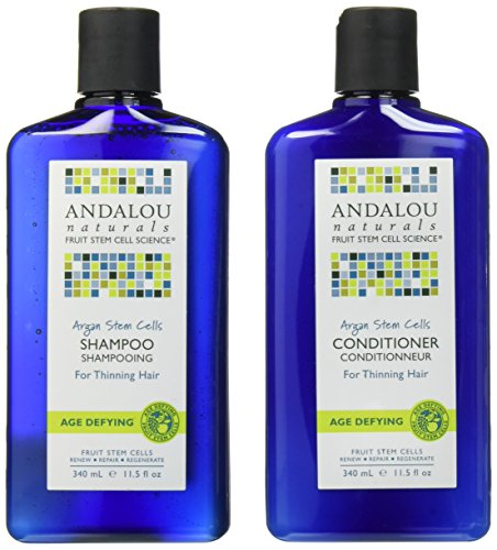 Andalou Naturals Argan Oil Stem Cells Age Defying Shampoo and Conditioner Bundle For Thinning Hair With Jojoba Oil and Aloe Vera For Anti-Aging, 11.5 fl. oz. each