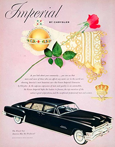 1952 Ad Chrysler Imperial Automobile Car Vehicle Crown Jewels Royalty Rose YFT9 - Original Print Ad from PeriodPaper LLC-Collectible Original Print Archive