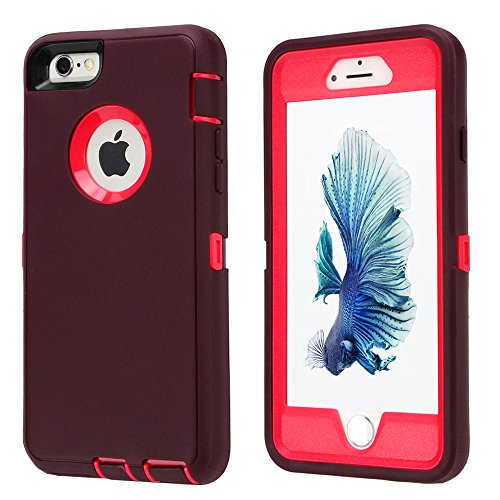 iPhone 6/6s Case, Armor 3 in 1 Built-in Screen Protector Rug