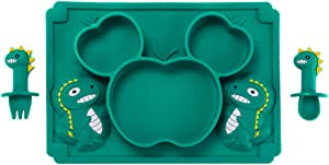 Vpqnee Children's Cartoon Fruit Dinosaur Shaped Food Grade Silicone Dinner Plate Placemat Set with Oversized Suction Cup and Dinosaur Shaped Fork Spoon Free of BPA (Dark Green)