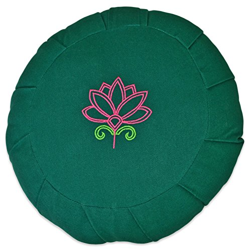 (YogaAccessories Round Cotton Zafu Meditation Cushion - 2 Color Lotus on Green)