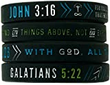 Inkstone Christian Silicone Wristbands w/Scriptures (Set of 4) - Unisex Bible Verse Jewelry for Men Women Teens