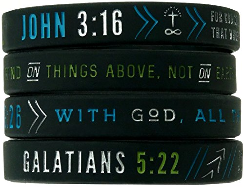 Christian Silicone Wristbands w/ Scriptures (Set of 4) - Unisex Bible Verse Jewelry for Men Women Teens