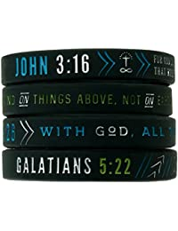 Christian Silicone Wristbands w/Scriptures (Set of 4) - Unisex Bible Verse Jewelry for Men Women Teens