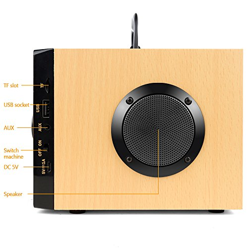 Desktop Wooden Bluetooth Speaker 10w Powerful Wireless Stereo Subwoofer Loudspeakers Music Player Support Digital Display Remote Control FM Radio TF Card USB AUX Speakers for Home Party for Phone by TOMPROAD (Image #6)